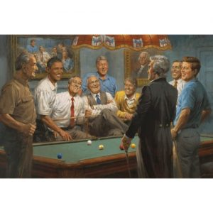 Painting of 9 Past Presidents Playing Pool, Including Obama Lincolm JFK Clinton and More