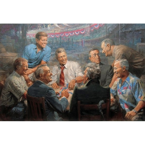 Painting of 8 Past Presidents Playing Poker, Including Clinton, JFK, Lincoln, FDR, Carter and more