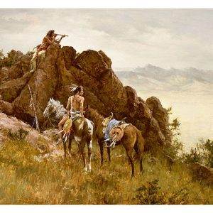 Native American Man On Rocks Using a Far Seeing Glass, Another Man on Horse Looking in the same direction