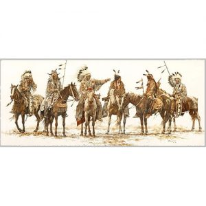 Six Native American Men Riding horses in Traditional Headdress Holding Spears