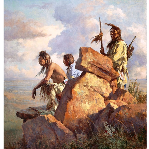 Three Native American Men Standing on Cliff Rocks, One Holding Spear