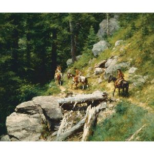 Three Native American Men Riding Horses, Traversing Trails through the woods and rocks