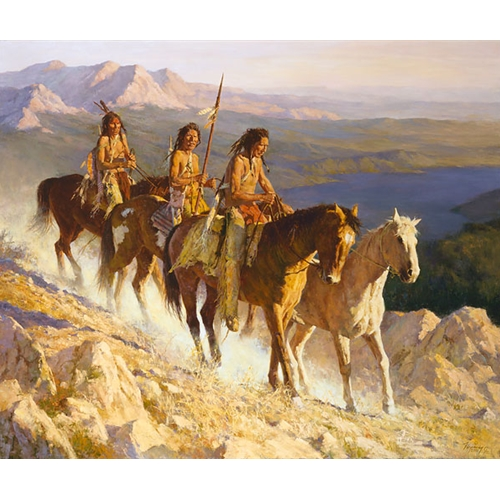 Three Native American Men Riding Horses, With Mountains and River in the Background