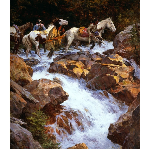 Native American Men with Horses Crossing a Raging River
