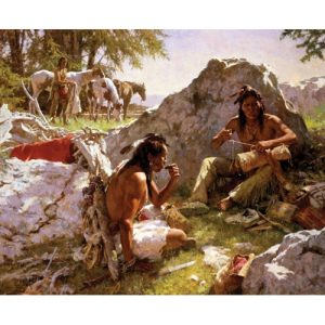 Native American Man with Horse in Background, Two Native American Men sitting by rocks in foreground