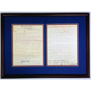 Two Pages of Handwritten Basketball Rules, Black Frame with Blue Background