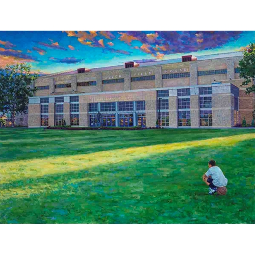 Painting of young boy sitting in the grass on a basketball, Outside of Allen Field House