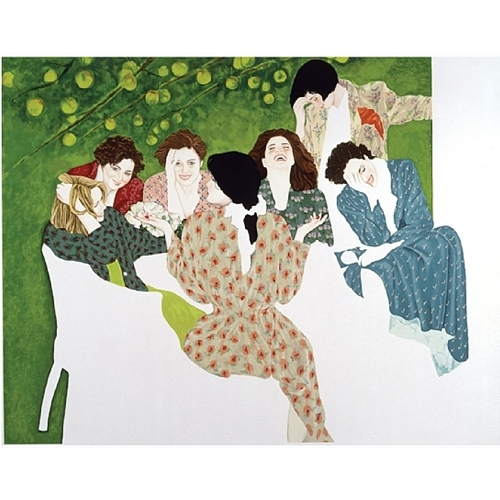 Painting of Seven Women Laughing around a table, all wearing multicolored dresses