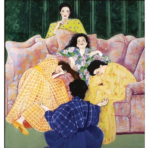 Painting Large Couch with Three Women Sitting, Another Behind Couch and another in Front of couch, All Wearing Pajamas