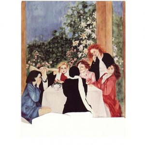 Painting of Seven Women Sitting Around a Dinner Table Laughing