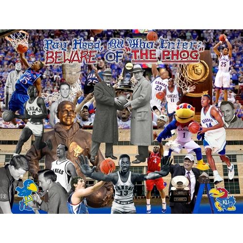 """BEWARE OF THE PHOG"" 3D Poster with Many Famous Kansas Basketball Players and Coache"
