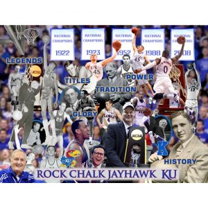3D Poster with Many Famous Kansas Basketball Players and Coaches, with Banners in Background