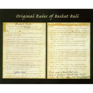 Original Rules of Baksetball Poster, Two pages of Handwritten Notes