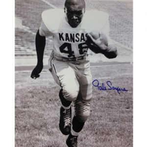 Black and White Gale Sayers IN Football Gear Without Helmet Signed Photo