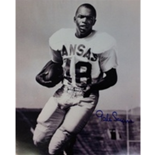 Black and White Gale Sayers Holding Football with Football Gear Without Helmet Signed Photo