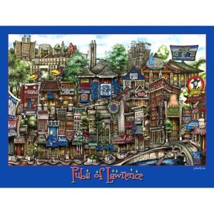 Cartoon Style Framed Picture of Various Pubs of Lawrence, Kansas