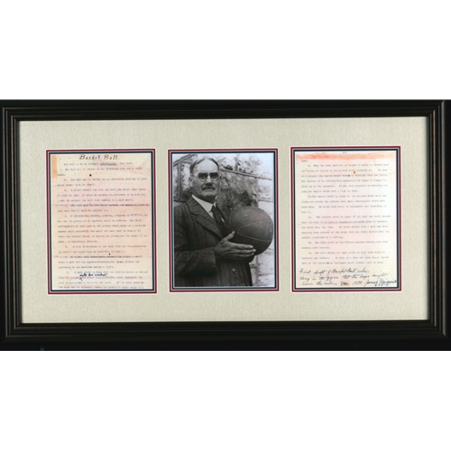 Black and White Picture of James Naismith Holding Basketball, With Basketball Rules - Framed