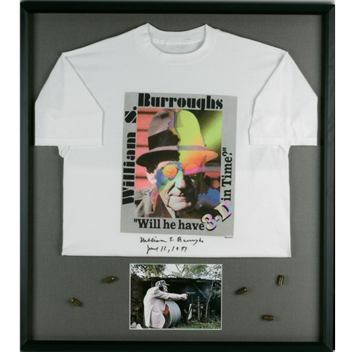 White William S. Burroughs Shirt, Framed, With Picture Below of Him Shooting
