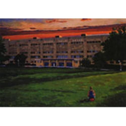 University of Kansas's Allen Field House Painting at Sunset