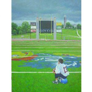 Painting of Kid at Midfield at KU Football Field