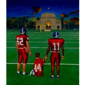 Painting of College Football Players & Kid at Midfield at Nighttime