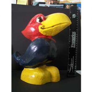 Painted University of Kansas Jayhawk Sculpture