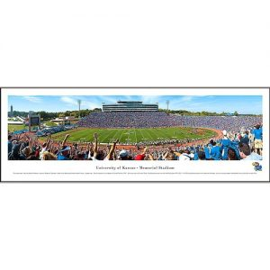 Panoramic View of Kansas Memorial Stadium, Full of fans on a sunny day
