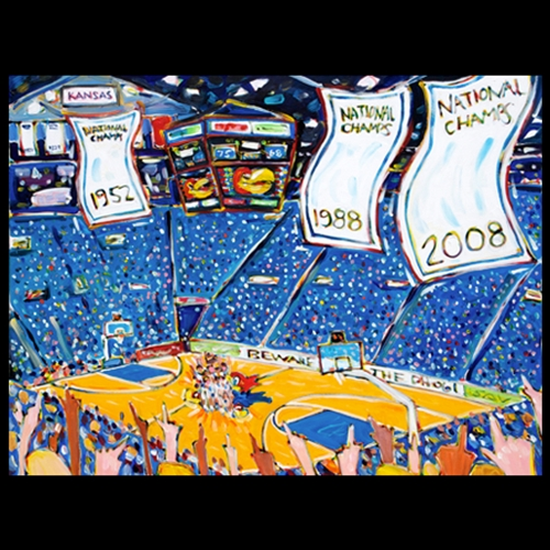 Painting of Kansas Allen Fieldhouse, with national championship banners hanging, Players celebrating at half court