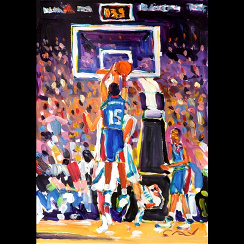 Painting of Mario Chalmers Taking Jump shot while being defended, 3 seconds left on the clock