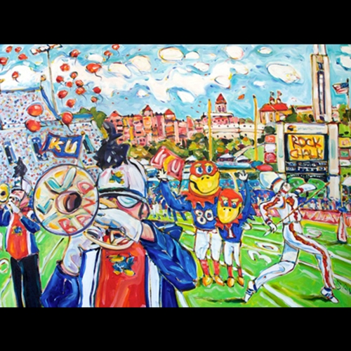 Painting of Kansas Jayhawk Mascots with arms around eachother, Trumpet Players and Marching Band all on Football Field with red balloons in the background