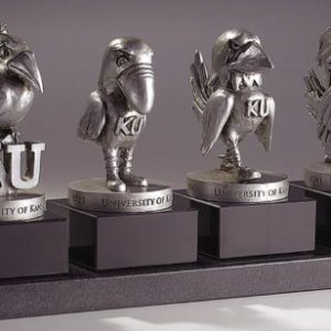 "Five 5"" Baby Jayhawk Pewter Figure with Black Base"