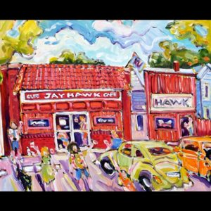 Painting of Jayhawk Café, Green and Orange Cars Parked in Front, People holding cans in the air