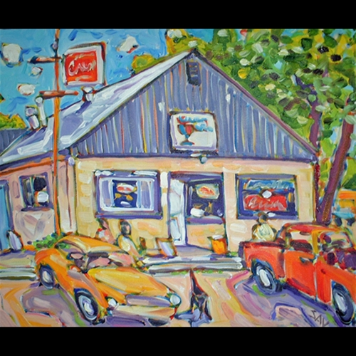 Painting of Gas Station, Red Truck and Yellow Car Parked in Front, Trees on the right