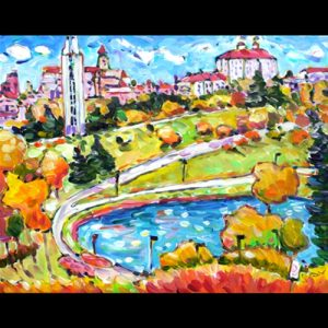 Painting of Kansas University Campus, with Pond and Buildings and Fall Trees