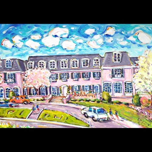 Painting of Kansas Universities Pi Phi House on sunnday Day, with car parked in front