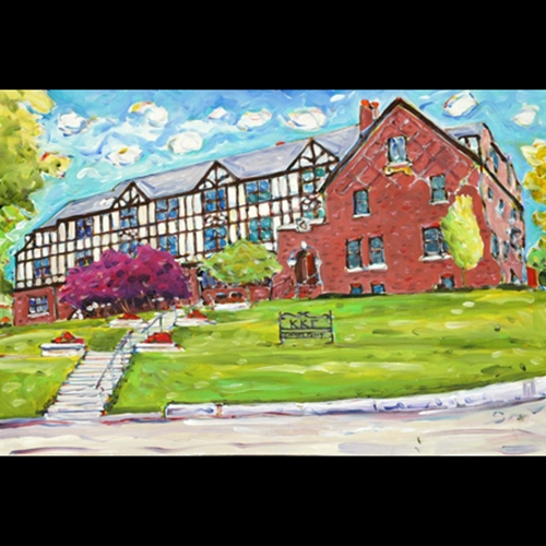 Painting of Large Sorority House on Sunny Day