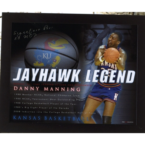 Hand Signed Danny Manning Photo, olding bastkeball with Jayhawk Legend and career highlights printed, as well as KU basketball in background