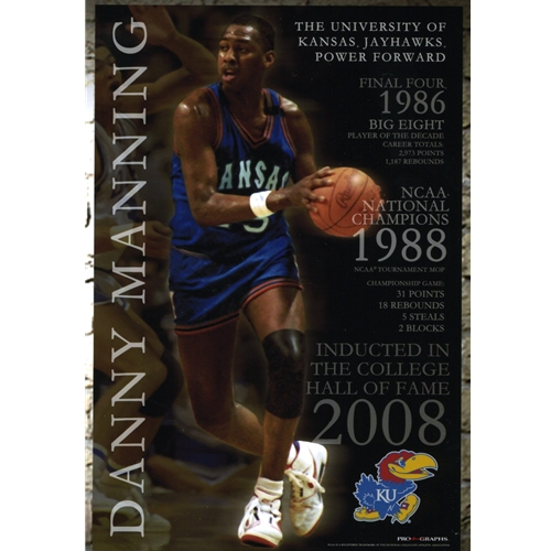 Danny Manning Wearing Kansas jersey holding basketball, with career highlights and KU Logo
