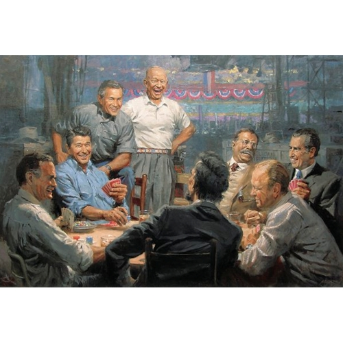 Painting of 8 Past Presidents Playing Poker and Laughing, Including Nixon, Bush Jr and Sr, Lincoln and More