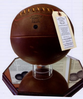 Replica Leather Basketball with Tag Attached, Attached to Base