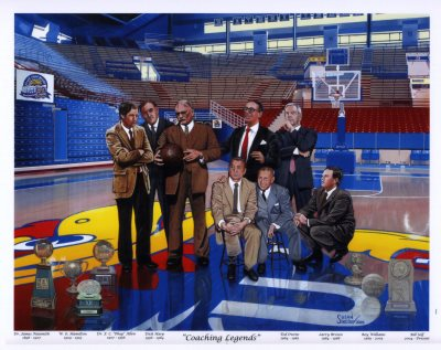 Eight Coaches at Midcourt standing on Kansas Logo, With Championship Trophies