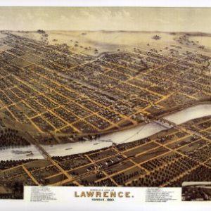 Black and White Photo - Birds Eye View of Lawrence, Kansas 1880 Print