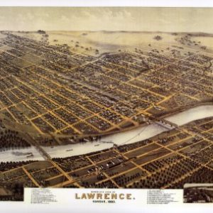 Black and White Photo - Birds Eye View of Lawrence, Kansas 1880 Print