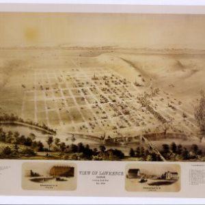 Black and White Photo - Birds Eye View of Lawrence, Kansas 1858