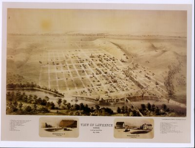 Black and White Photo - Birds Eye View of Lawrence, Kansas 1858