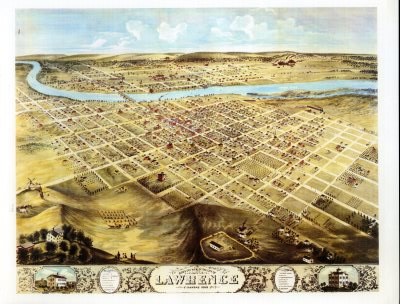 Birds Eye View of Lawrence, Kansas 1869, Open Plots of Land with River in Background
