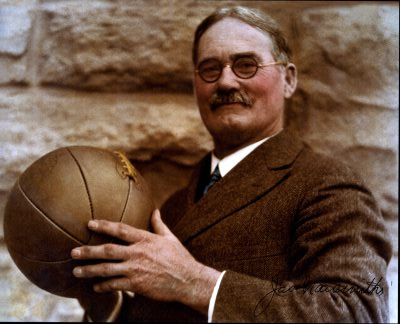 James Naismith Holding Basketball in Sepia