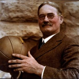 James Naismith Holding Basketball in Sepia
