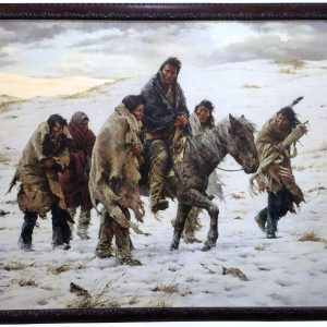 Chief Joseph Riding Horse in Snow with 5 Native American Men Walking Alongside
