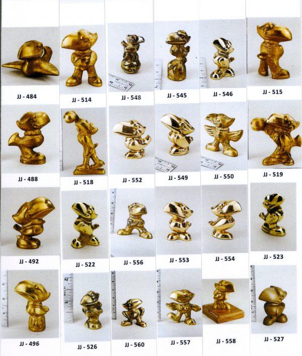 24 Miniature Bronze Jayhawks Figurines, Various Styles